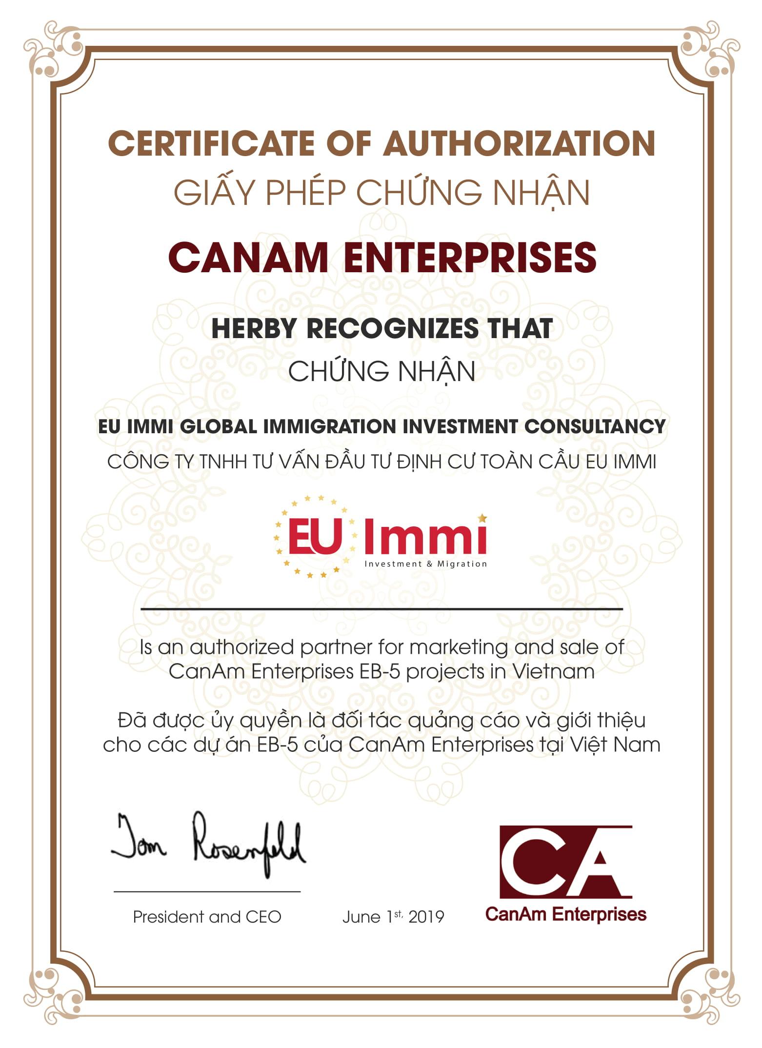 Giấy phép chứng nhận EU Immi là đơn vị giới thiệu và phân phối chính thức các dự án EB-5 của trung tâm vùng CanAm Enterprises