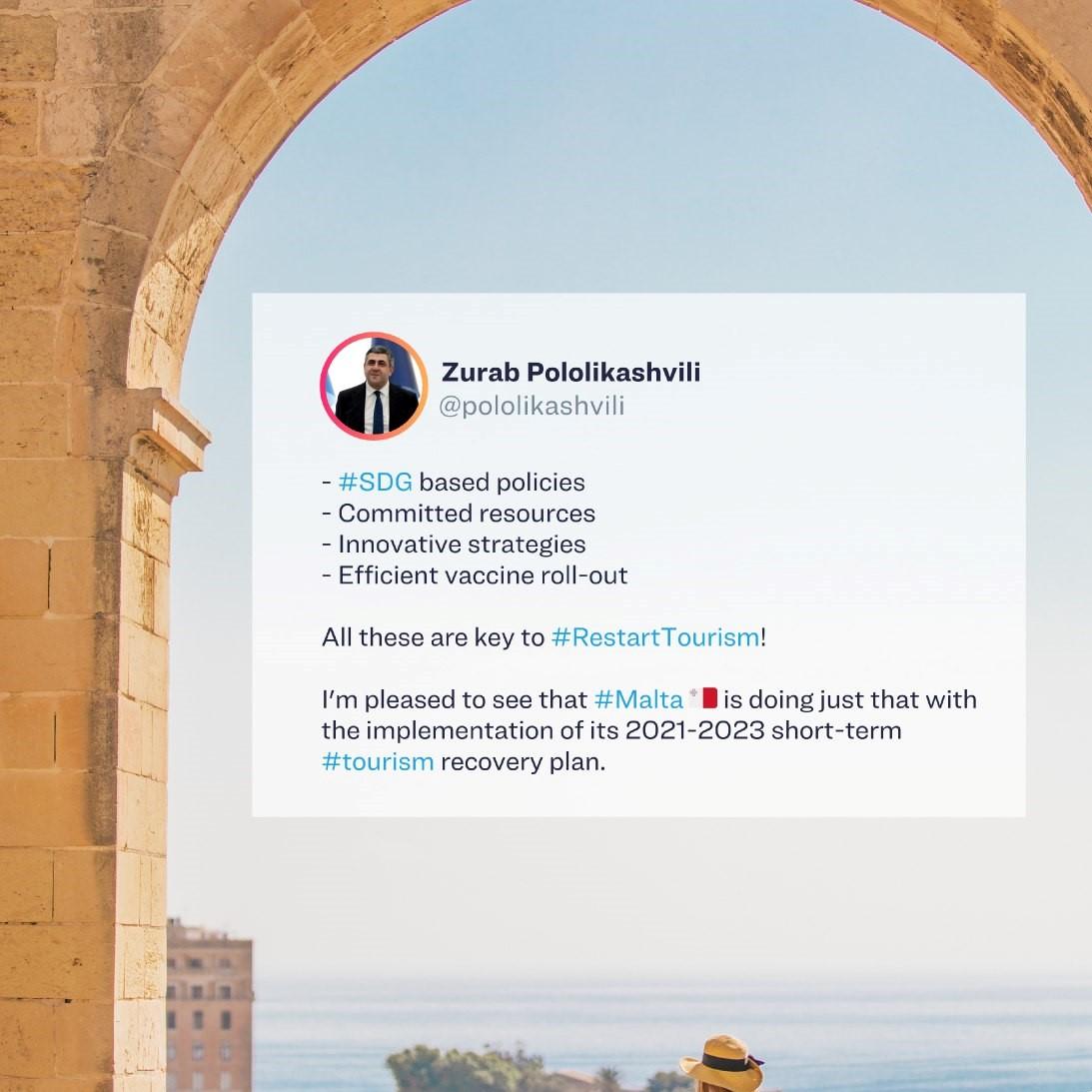 Tổng thư ký Zurab Pololikashvili World Tourism Organization (UNWTO) ủng hộ Kế hoạch Phục hồi Du lịch của Malta!