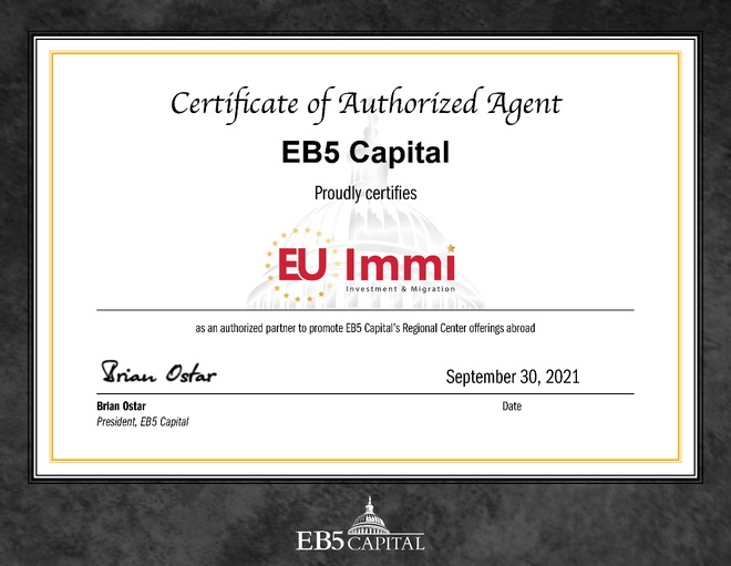 Chứng nhận EU Immi là đơn vị chính thức phân phối các dự án của EB5 Capital