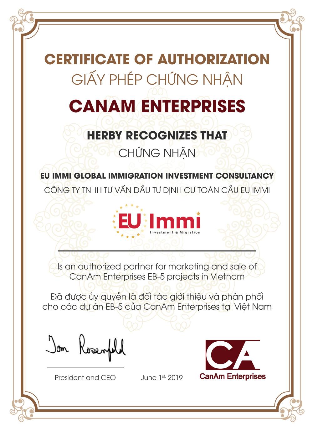 Chứng nhận EU Immi là đơn vị chính thức phân phối các dự án EB-5 của CanAm